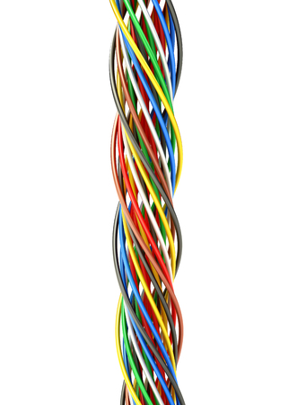 electric material: A bunch of multi-colored electric wires. 3D illustration Stock Photo