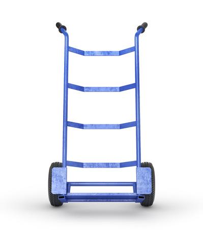 Lege handvrachtwagen in vooraanzichtisolatie op een witte achtergrond. 3D illustratie Stockfoto