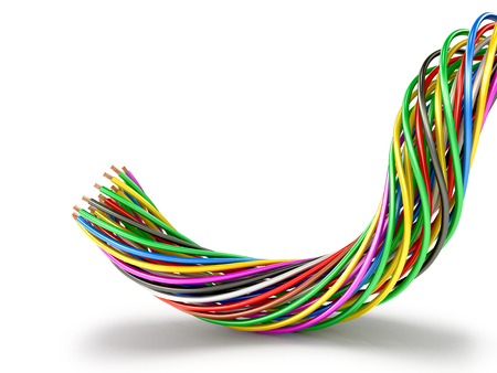 A bunch of multi-colored electric wires. 3D illustration Фото со стока