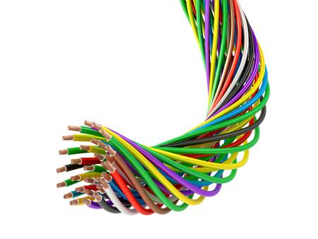 Een heleboel multi-colored elektrische draden. 3D illustratie