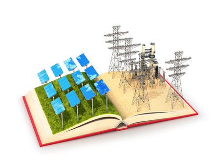 concept of nature and industry. Open book with illustrations of solar panels and a power plant. 3d illustration