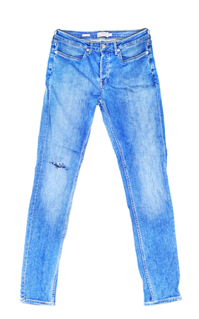 front view: Blank blue jeans isolated on white background