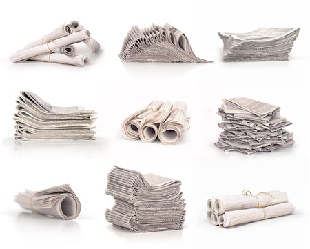 newspapers in roll and stack collection isolated