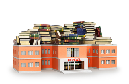 School building filled with books, isolated on white background. 3D illustration Stock Photo