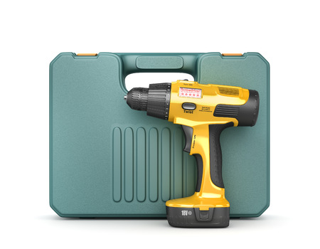 Cordless screwdriver with box isolated on white background. 3d illustration
