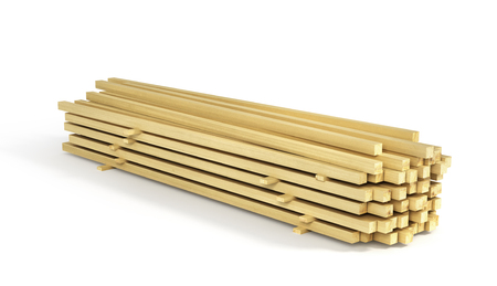 Stack of wood boards isolated on a white background. 3d illustration Reklamní fotografie