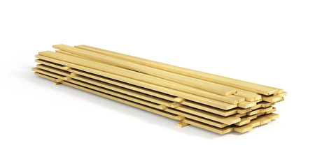 Stack of wood boards isolated on a white background. 3d illustration Stock Photo