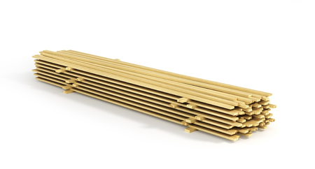 staple: Stack of wood boards isolated on a white background. 3d illustration Stock Photo