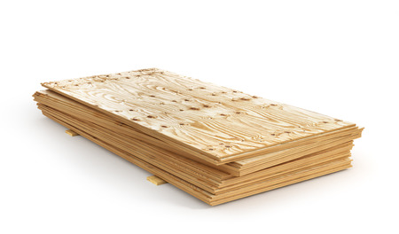 Stack of plywoods isolation on a white background. 3d illustration Stock Photo