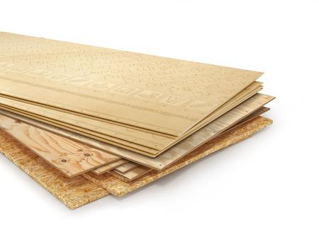 別のボードのスタック。OSB、合板、石膏ボード。3 d イラストレーション
