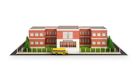 School building, bus and front yard of the school building. Isolated on white background. 3d illustration
