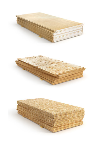 Set of stacks of different boards. OSB, plywood and gypsum board. 3d illustration Stock Illustration - 81415378