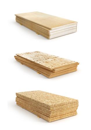 Set of stacks of different boards. OSB, plywood and gypsum board. 3d illustration Reklamní fotografie - 81415378