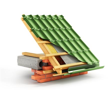 Installatie op het dak. Metalen tegeldeklaag op het dak met technische details en bouwlagen. 3D illustratie