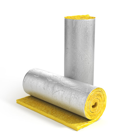 Roll of insulation wool for construction. Heating materials. 3d illustration Stok Fotoğraf