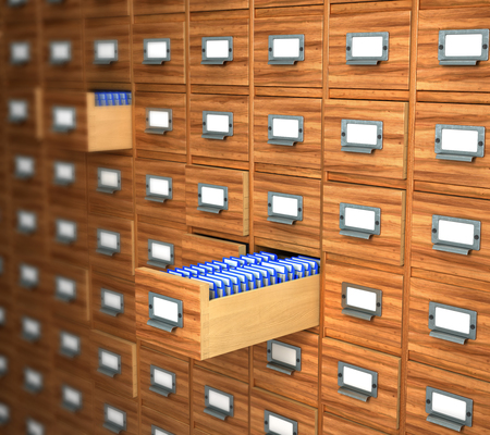 indexing: archive of wooden boxes is closed and open. 3d illustration
