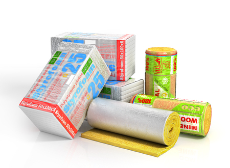 Roll of insulation wool for construction with styrofoam stack. Heating materials. 3d illustration