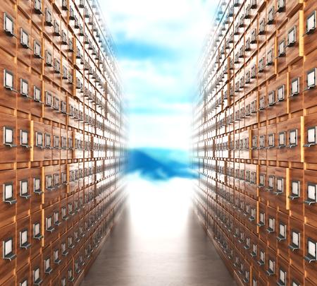 Habitación con archivos. El corredor de archivo con armarios que conducen a la luz. Ilustración 3D Foto de archivo
