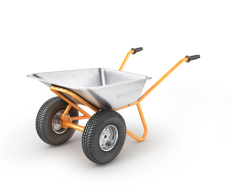 hauling: Empty wheelbarrow on a white background. 3d illustration