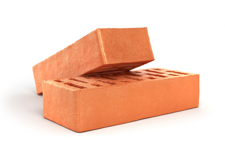 stone mason: Two bricks isolated on a white background. 3d illustration Stock Photo