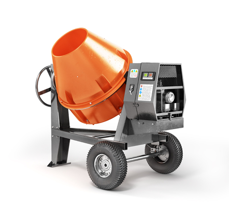 new addition: Concrete mixer on a white background. 3d illustration