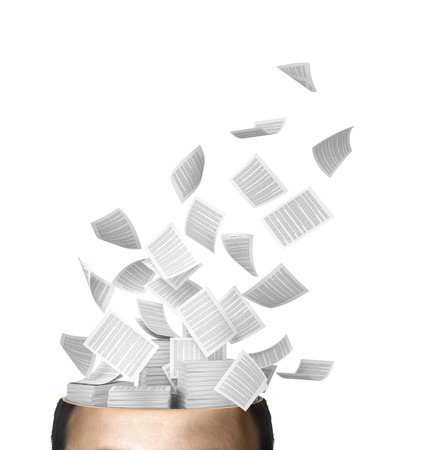 trapped: Many flying business documents of human head isolated on white. 3D illustration