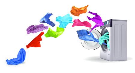 Helle Sachen entfernen sich von der Waschmaschine auf einem weißen Hintergrund. Standard-Bild - 82995439