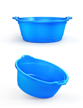 Set of two plastic basin in different view, isolation on a white. 3d illustration Stock Photo