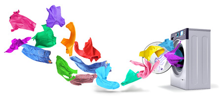 Bright things take off from the washing machine in the form of a wave on a white background