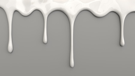3d illustration of white milk pouring on grey background