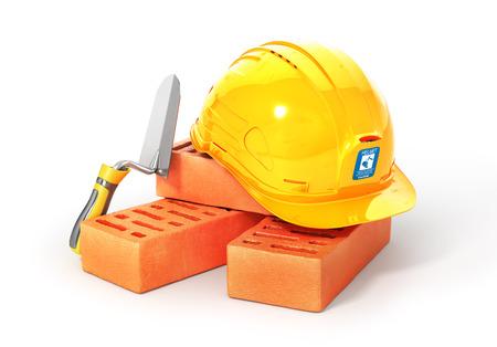 Bouwset. Bakstenen met troffel en helm. 3D illustratie