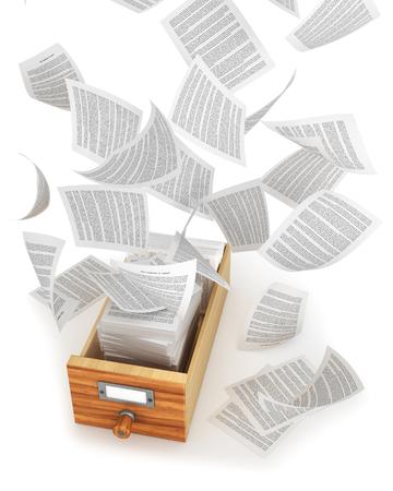 Archieven en documenten. Vliegen van papier uit de houten lade. 3d illustratie Stockfoto