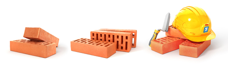 Set of bricks stacked. 3d illustration Stock Photo
