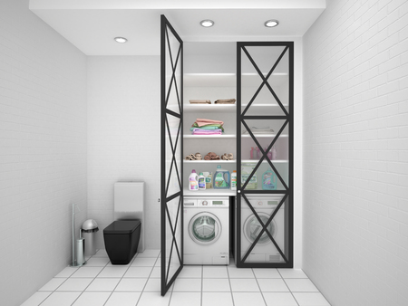 White laundry in the bathroom. 3d illustration