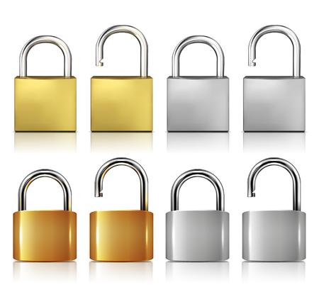 Locked And Unlocked Padlock Realistic Set
