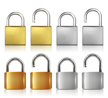 Locked And Unlocked Padlock Realistic Set