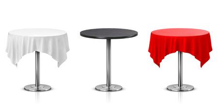Conjunto de mesa redonda con mantel aislado sobre fondo blanco