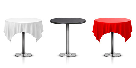 Set of Round Table with Tablecloth Isolated on White Background