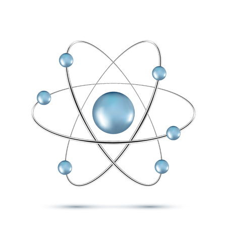 illustration of blue atom molecule isolated on white background