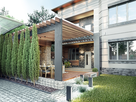 Gazebo with kitchen in the yard. 3d illustration