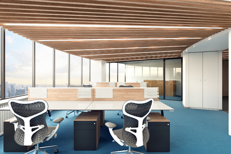 Bright office with panoramic window. 3d illustration Stock Photo