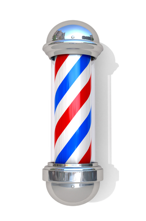 Barbershop Pole on a white background. 3D illustration