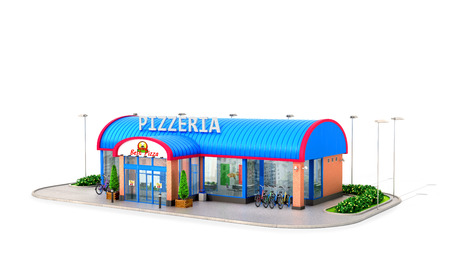 Building of pizzeria on a white background. 3D illustration