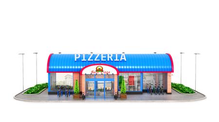白い背景にピザ屋の建物です。3 D イラストレーション