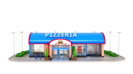 흰색 배경에 피자 집 건물입니다. 3D 일러스트 레이션