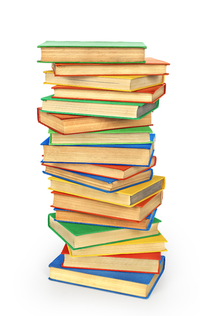 marca libros: Stack of colored books isolated on a white background