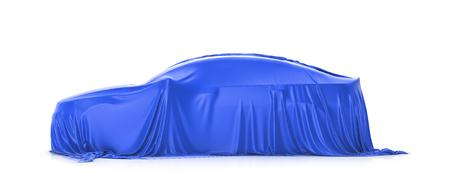 Presentation of the car. Car under the cloth. Stock Photo