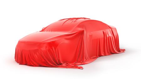Präsentation des Autos. Auto unter dem Tuch. Standard-Bild