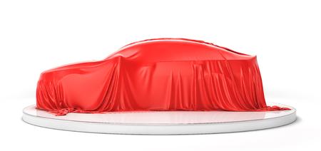 Presentation of the car. Car under the cloth. 3d illustration Stock Photo