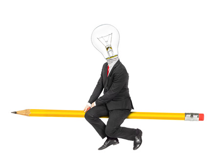 Concept of idea. Man in business suit with light bulb as head flies on a pencil isolated on a white background.